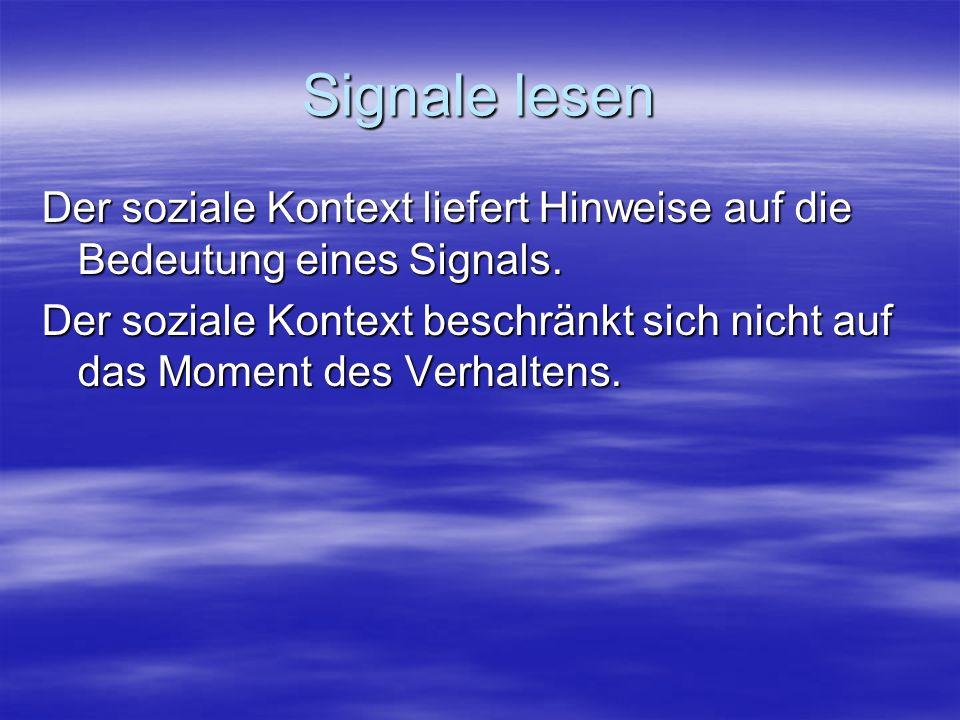 Signale lesen Der soziale Kontext liefert Hinweise auf die Bedeutung eines Signals. Der soziale Kontext beschränkt sich nicht auf das Moment des Verha