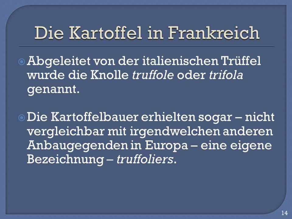 Abgeleitet von der italienischen Trüffel wurde die Knolle truffole oder trifola genannt. Die Kartoffelbauer erhielten sogar – nicht vergleichbar mit i
