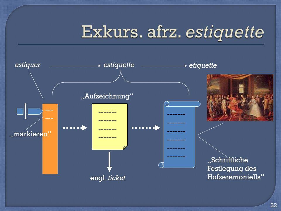 32 --- ------- estiquetteestiquer etiquette engl. ticket Schriftliche Festlegung des Hofzeremoniells Aufzeichnung markieren