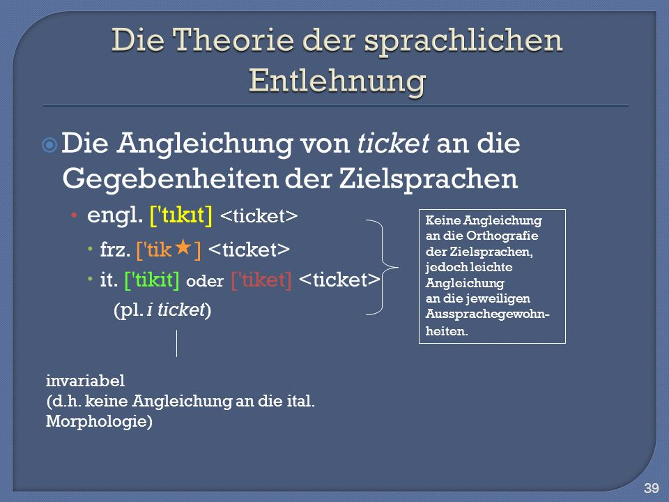 Die Angleichung von ticket an die Gegebenheiten der Zielsprachen engl. ['tıkıt] frz. ['tik ] it. ['tikit] oder ['tiket] (pl. i ticket) 39 invariabel (