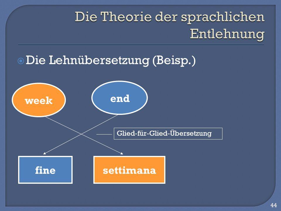 Die Lehnübersetzung (Beisp.) 44 week end settimanafine Glied-für-Glied-Übersetzung