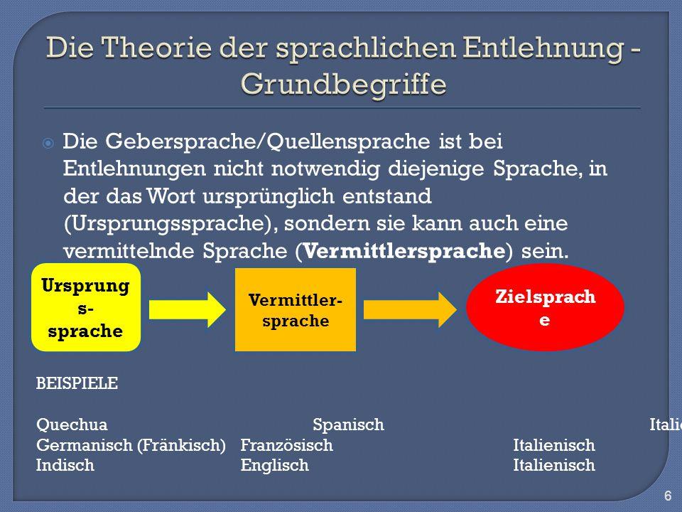 Die Gebersprache/Quellensprache ist bei Entlehnungen nicht notwendig diejenige Sprache, in der das Wort ursprünglich entstand (Ursprungssprache), sond