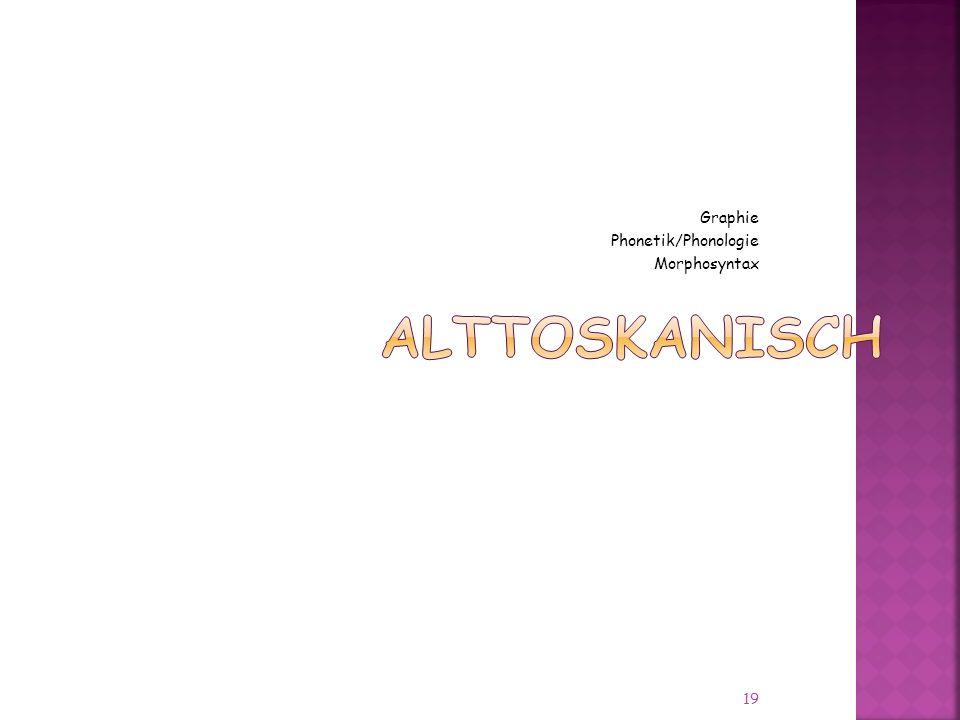 Graphie Phonetik/Phonologie Morphosyntax 19
