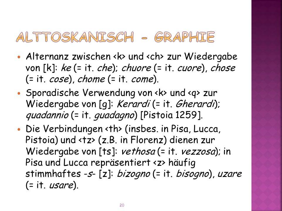 Alternanz zwischen und zur Wiedergabe von [k]: ke (= it.