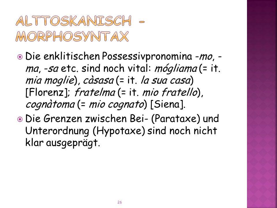 Die enklitischen Possessivpronomina -mo, - ma, -sa etc.