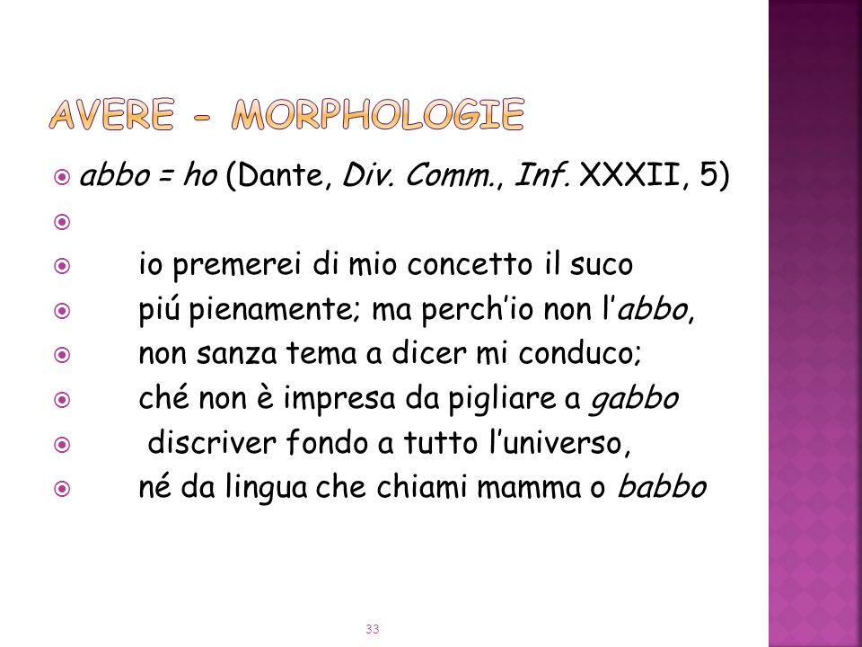 abbo = ho (Dante, Div.Comm., Inf.