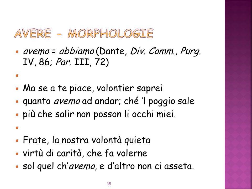 avemo = abbiamo (Dante, Div.Comm., Purg. IV, 86; Par.