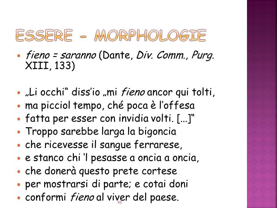 fieno = saranno (Dante, Div.Comm., Purg.