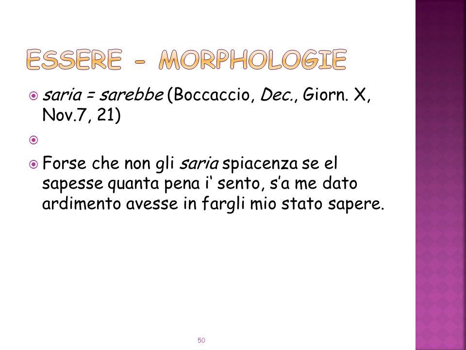 saria = sarebbe (Boccaccio, Dec., Giorn.