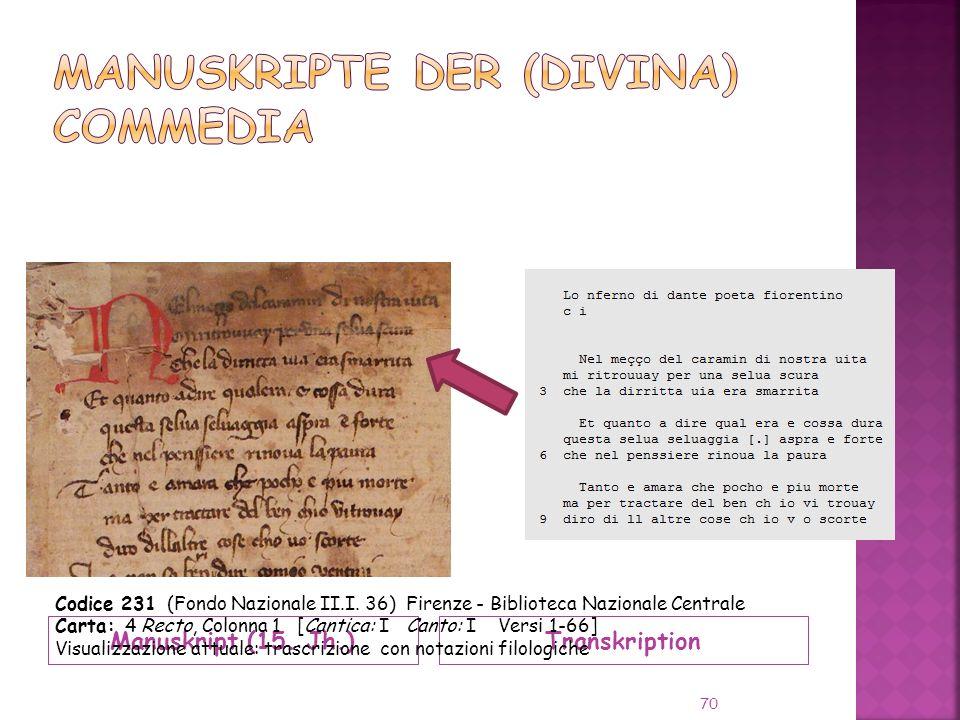 Manuskript (15.Jh.)Transkription 70 Codice 231 (Fondo Nazionale II.I.