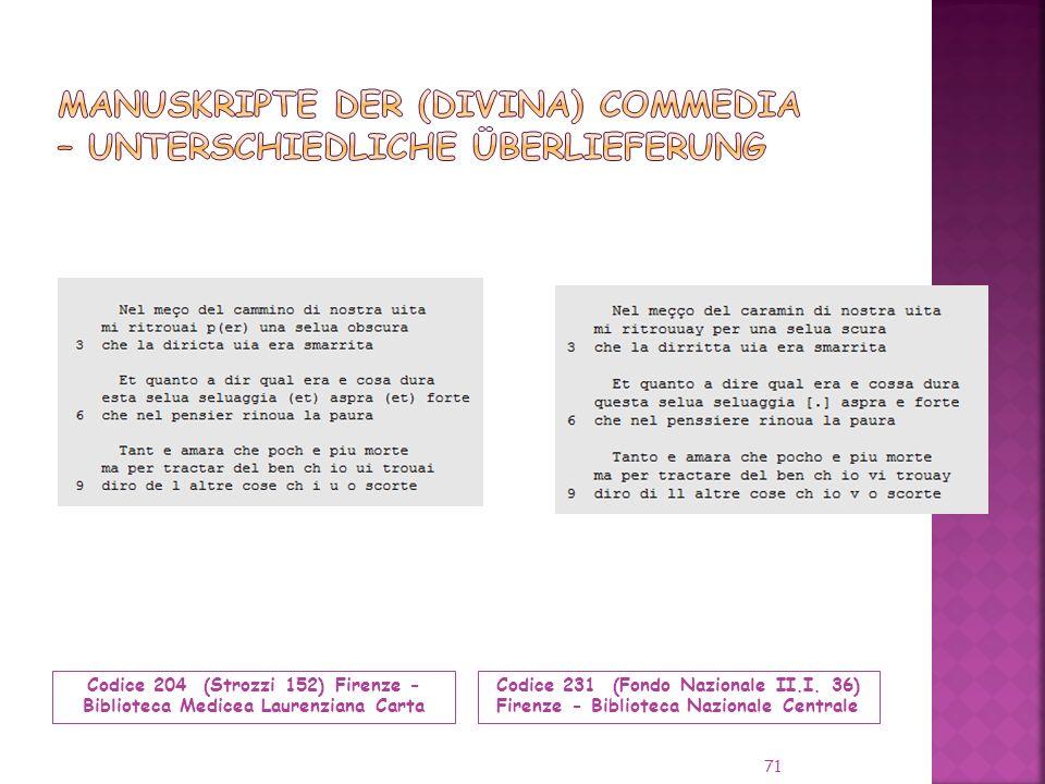 Codice 204 (Strozzi 152) Firenze - Biblioteca Medicea Laurenziana Carta Codice 231 (Fondo Nazionale II.I.