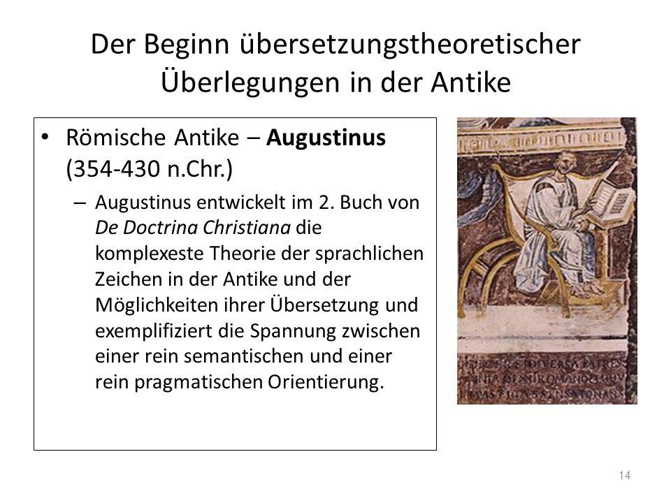 Der Beginn übersetzungstheoretischer Überlegungen in der Antike Römische Antike – Augustinus (354-430 n.Chr.) – Augustinus entwickelt im 2. Buch von D