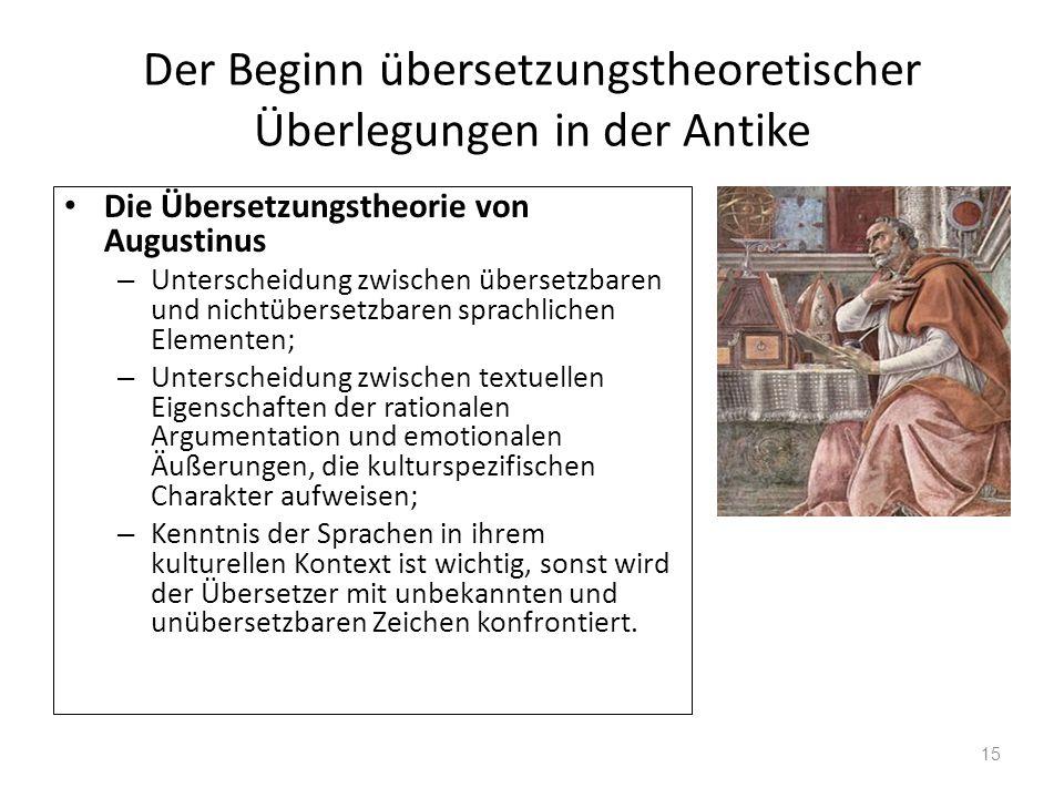Der Beginn übersetzungstheoretischer Überlegungen in der Antike Die Übersetzungstheorie von Augustinus – Unterscheidung zwischen übersetzbaren und nic