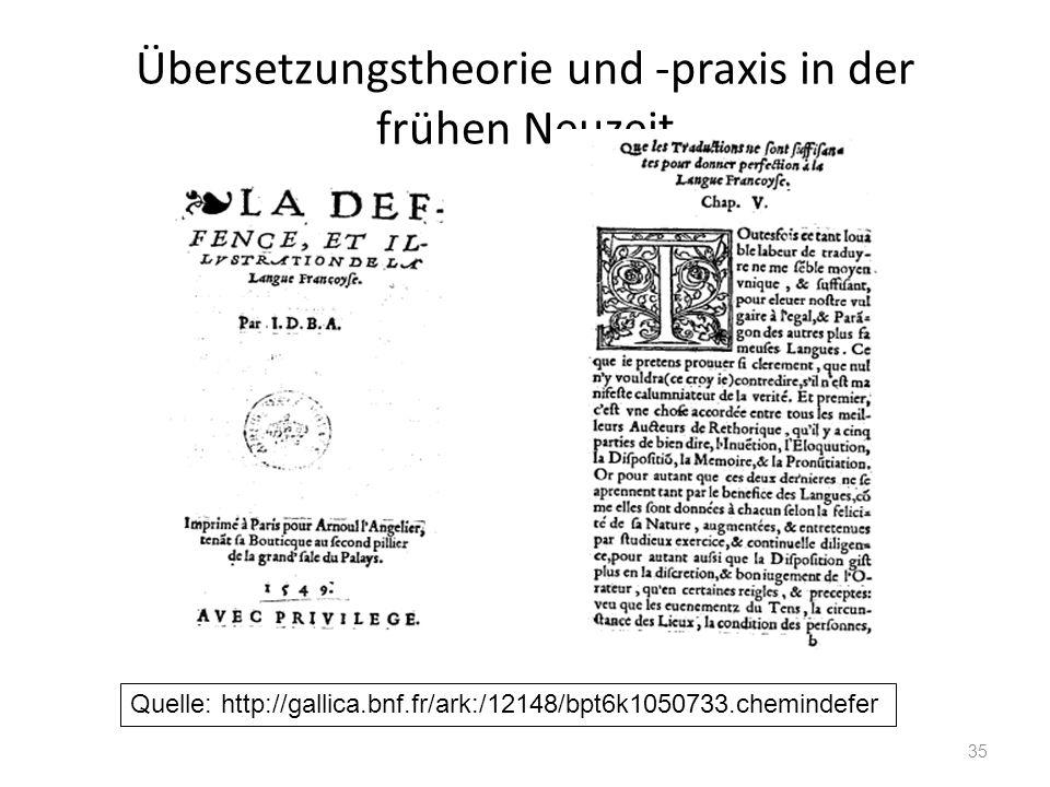 Übersetzungstheorie und -praxis in der frühen Neuzeit 35 Quelle: http://gallica.bnf.fr/ark:/12148/bpt6k1050733.chemindefer
