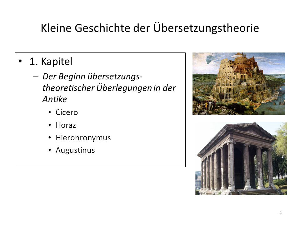 Kleine Geschichte der Übersetzungstheorie 1. Kapitel – Der Beginn übersetzungs- theoretischer Überlegungen in der Antike Cicero Horaz Hieronronymus Au
