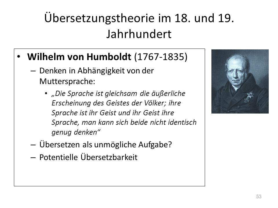 Übersetzungstheorie im 18. und 19. Jahrhundert Wilhelm von Humboldt (1767-1835) – Denken in Abhängigkeit von der Muttersprache: Die Sprache ist gleich