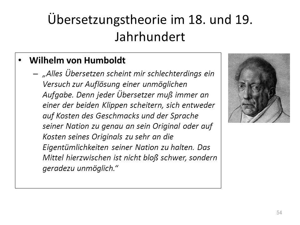 Übersetzungstheorie im 18. und 19. Jahrhundert Wilhelm von Humboldt – Alles Übersetzen scheint mir schlechterdings ein Versuch zur Auflösung einer unm