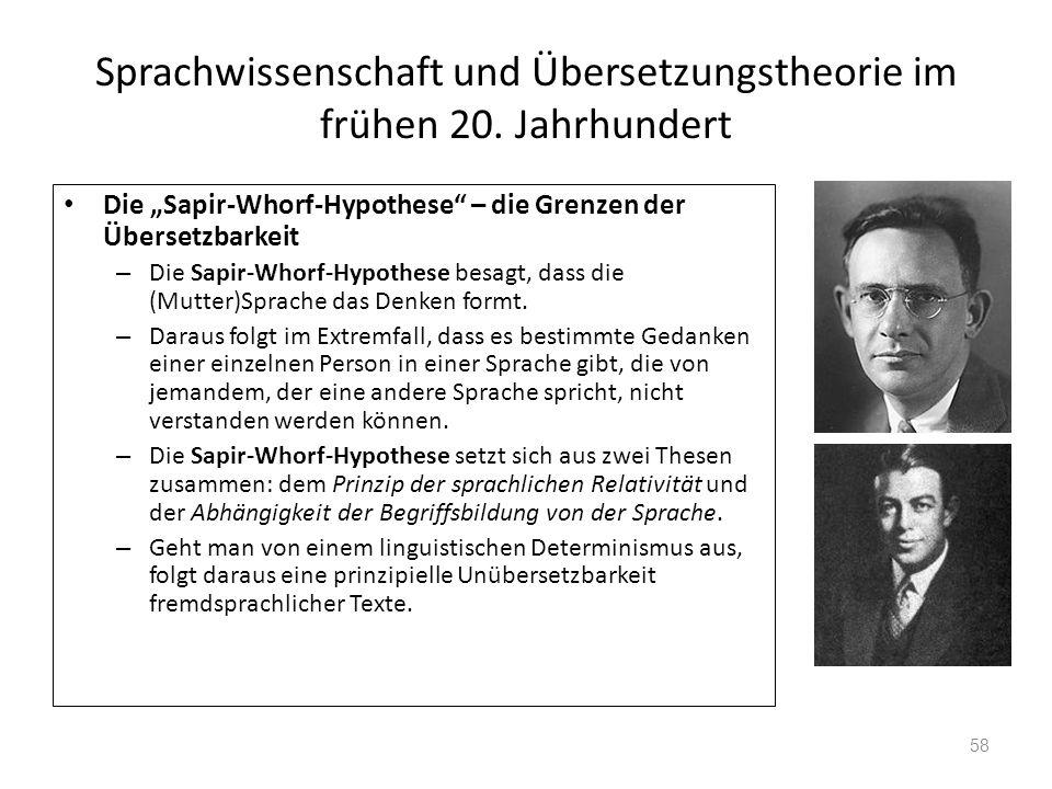 Sprachwissenschaft und Übersetzungstheorie im frühen 20. Jahrhundert Die Sapir-Whorf-Hypothese – die Grenzen der Übersetzbarkeit – Die Sapir-Whorf-Hyp