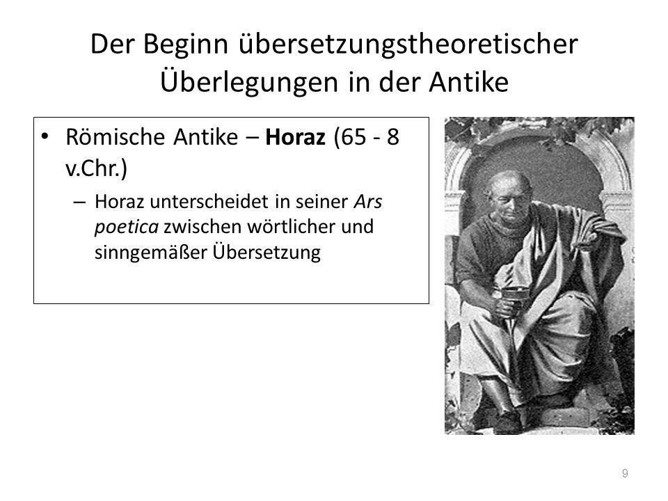Der Beginn übersetzungstheoretischer Überlegungen in der Antike Römische Antike – Horaz (65 - 8 v.Chr.) – Horaz unterscheidet in seiner Ars poetica zw