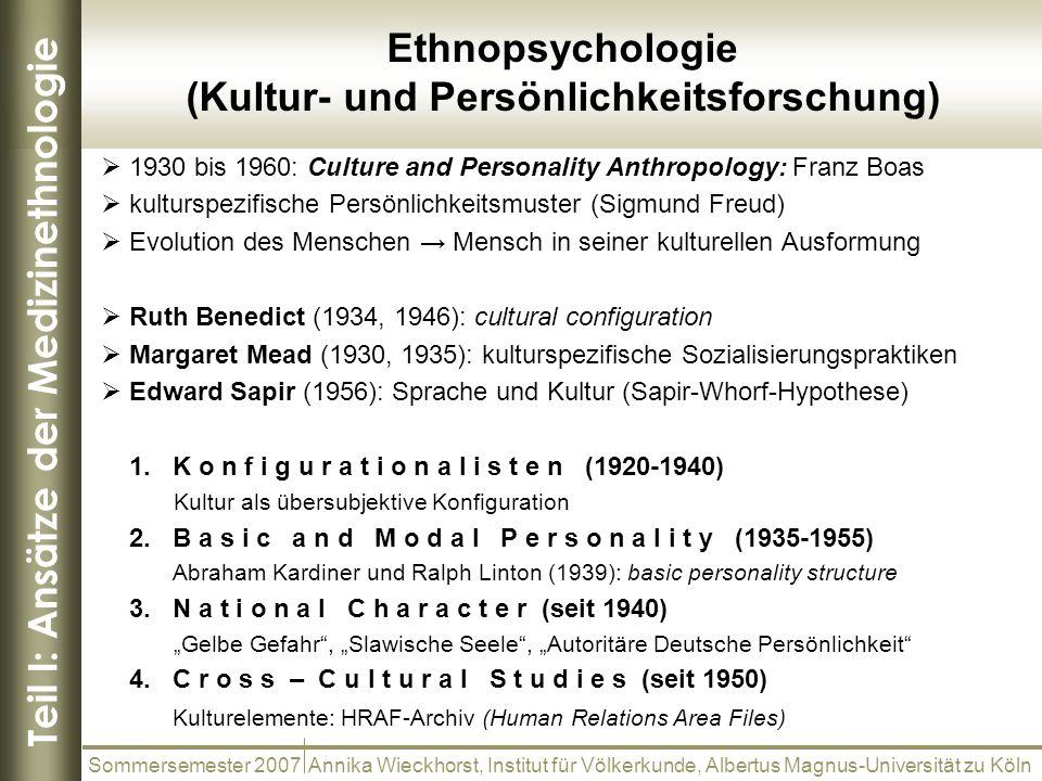 Teil I: Ansätze der Medizinethnologie Ethnopsychologie (Kultur- und Persönlichkeitsforschung) Sommersemester 2007 Annika Wieckhorst, Institut für Völk