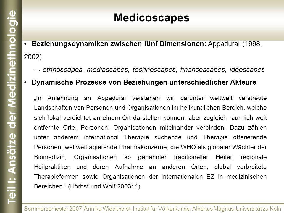 Teil I: Ansätze der Medizinethnologie Sommersemester 2007 Annika Wieckhorst, Institut für Völkerkunde, Albertus Magnus-Universität zu Köln Medicoscape