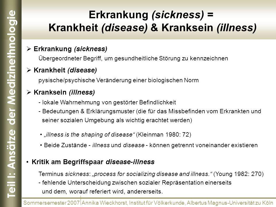 Teil I: Ansätze der Medizinethnologie Sommersemester 2007 Annika Wieckhorst, Institut für Völkerkunde, Albertus Magnus-Universität zu Köln Erkrankung