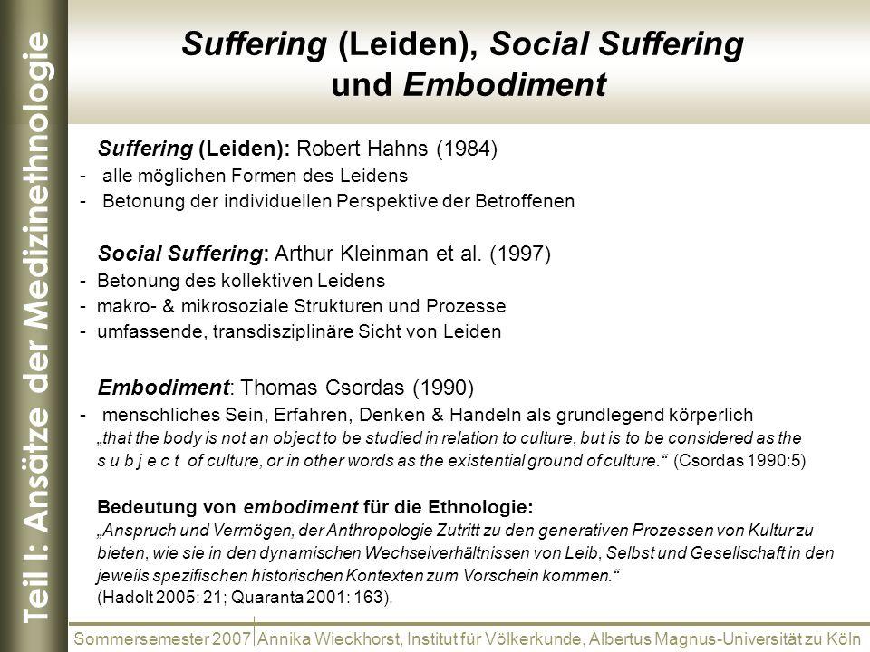 Teil I: Ansätze der Medizinethnologie Sommersemester 2007 Annika Wieckhorst, Institut für Völkerkunde, Albertus Magnus-Universität zu Köln Suffering (