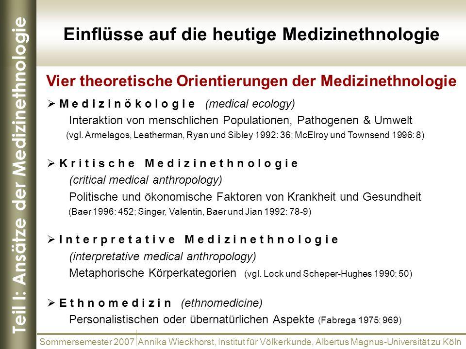 Teil I: Ansätze der Medizinethnologie Vier theoretische Orientierungen der Medizinethnologie Sommersemester 2007 Annika Wieckhorst, Institut für Völke