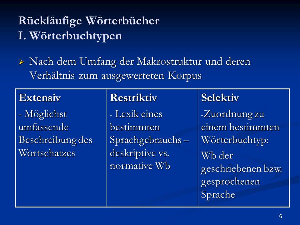 6 Rückläufige Wörterbücher I. Wörterbuchtypen Nach dem Umfang der Makrostruktur und deren Verhältnis zum ausgewerteten Korpus Nach dem Umfang der Makr