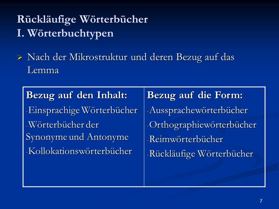 7 Rückläufige Wörterbücher I. Wörterbuchtypen Nach der Mikrostruktur und deren Bezug auf das Lemma Nach der Mikrostruktur und deren Bezug auf das Lemm