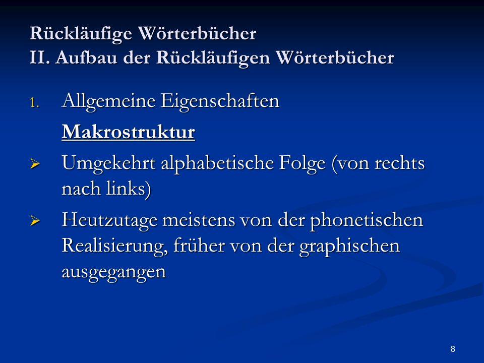 9 Rückläufige Wörterbücher II.