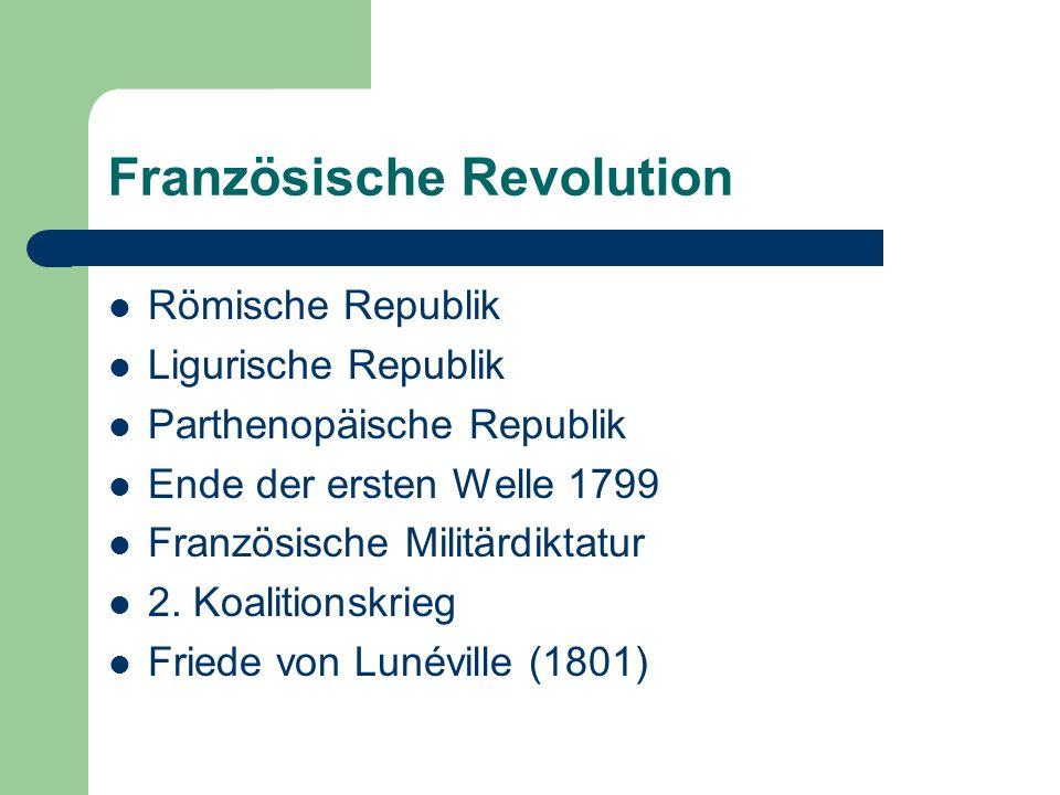 Französische Revolution Römische Republik Ligurische Republik Parthenopäische Republik Ende der ersten Welle 1799 Französische Militärdiktatur 2. Koal