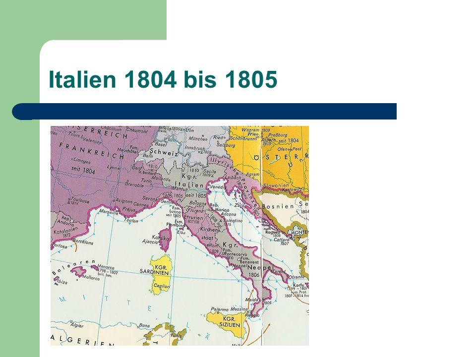 1848/49 Sardinien-Piemont Vertreibung der Österreicher aus Oberitalien Papst musste nach Gaeta fliehen Republiken Österreich wird militärisch wieder Herr der Lage