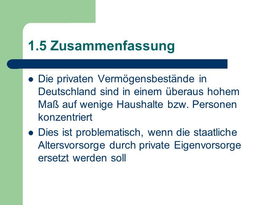 1.5 Zusammenfassung Die privaten Vermögensbestände in Deutschland sind in einem überaus hohem Maß auf wenige Haushalte bzw. Personen konzentriert Dies
