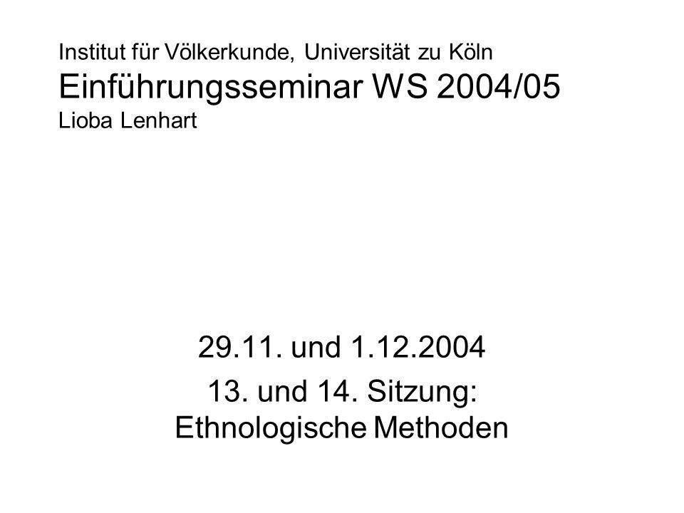 Institut für Völkerkunde, Universität zu Köln Einführungsseminar WS 2004/05 Lioba Lenhart 29.11. und 1.12.2004 13. und 14. Sitzung: Ethnologische Meth