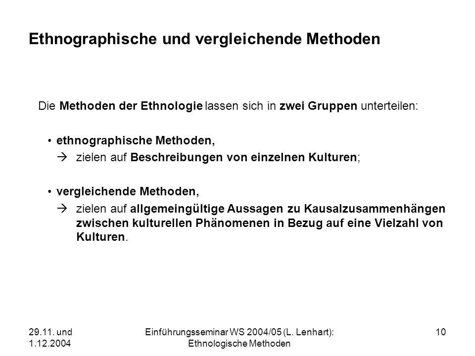 29.11. und 1.12.2004 Einführungsseminar WS 2004/05 (L. Lenhart): Ethnologische Methoden 10 Ethnographische und vergleichende Methoden Die Methoden der