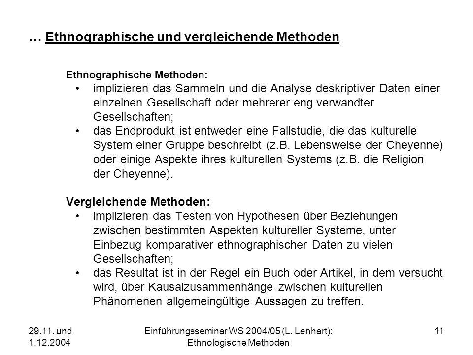29.11. und 1.12.2004 Einführungsseminar WS 2004/05 (L. Lenhart): Ethnologische Methoden 11 … Ethnographische und vergleichende Methoden Ethnographisch