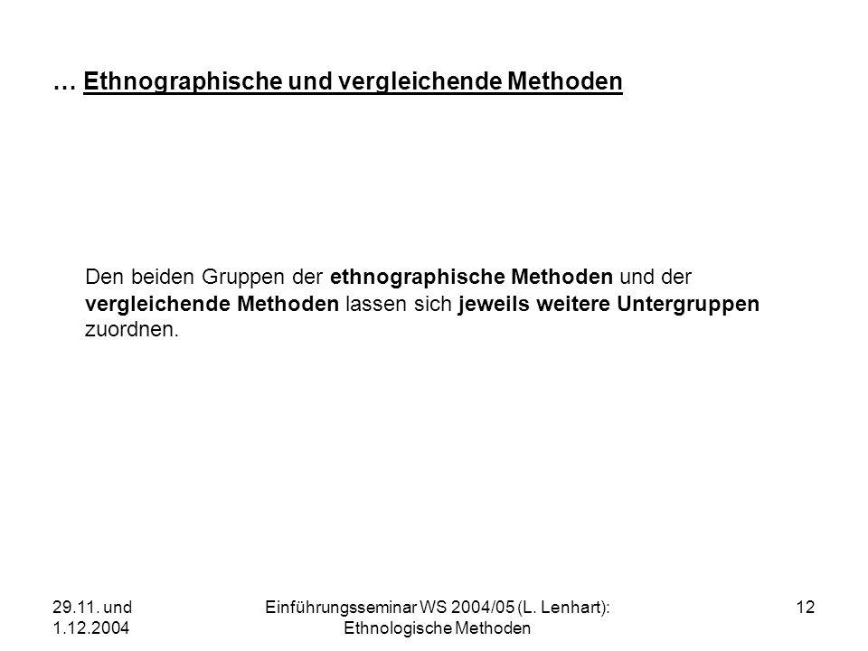 29.11. und 1.12.2004 Einführungsseminar WS 2004/05 (L. Lenhart): Ethnologische Methoden 12 … Ethnographische und vergleichende Methoden Den beiden Gru