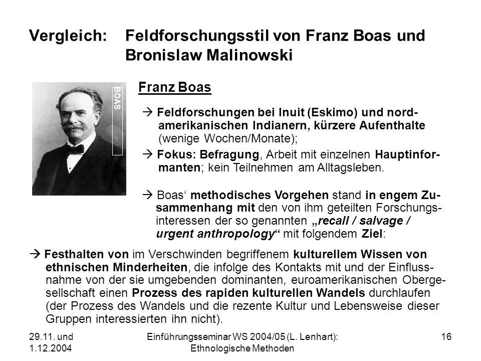 29.11. und 1.12.2004 Einführungsseminar WS 2004/05 (L. Lenhart): Ethnologische Methoden 16 Vergleich:Feldforschungsstil von Franz Boas und Bronislaw M