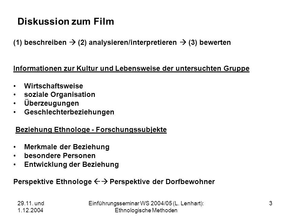 29.11. und 1.12.2004 Einführungsseminar WS 2004/05 (L. Lenhart): Ethnologische Methoden 3 Diskussion zum Film (1) beschreiben (2) analysieren/interpre