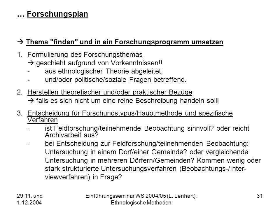 29.11. und 1.12.2004 Einführungsseminar WS 2004/05 (L. Lenhart): Ethnologische Methoden 31 … Forschungsplan Thema