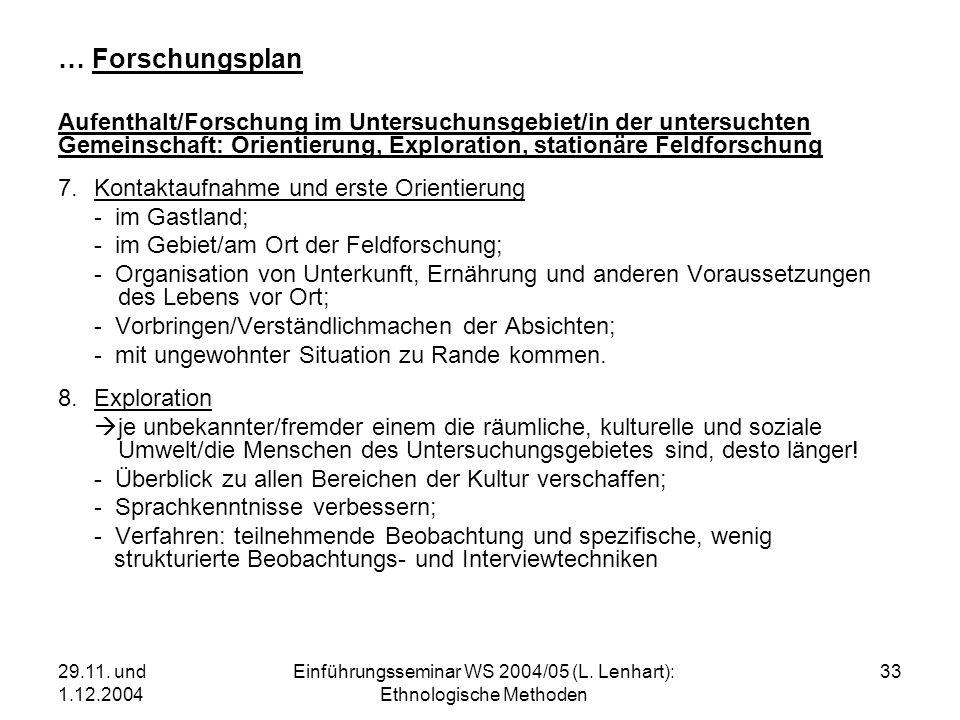 29.11. und 1.12.2004 Einführungsseminar WS 2004/05 (L. Lenhart): Ethnologische Methoden 33 … Forschungsplan Aufenthalt/Forschung im Untersuchunsgebiet
