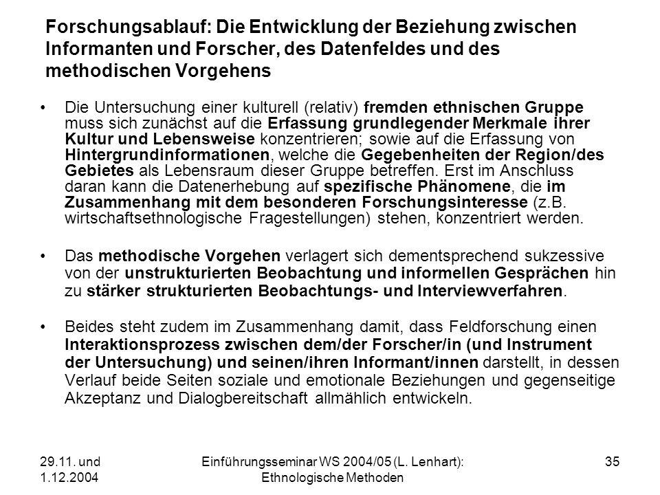 29.11. und 1.12.2004 Einführungsseminar WS 2004/05 (L. Lenhart): Ethnologische Methoden 35 Forschungsablauf: Die Entwicklung der Beziehung zwischen In