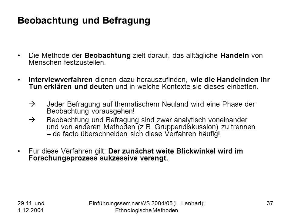 29.11. und 1.12.2004 Einführungsseminar WS 2004/05 (L. Lenhart): Ethnologische Methoden 37 Beobachtung und Befragung Die Methode der Beobachtung zielt