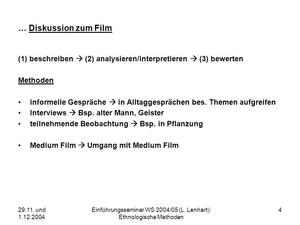 29.11. und 1.12.2004 Einführungsseminar WS 2004/05 (L. Lenhart): Ethnologische Methoden 4 … Diskussion zum Film (1) beschreiben (2) analysieren/interp