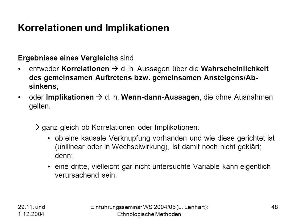 29.11. und 1.12.2004 Einführungsseminar WS 2004/05 (L. Lenhart): Ethnologische Methoden 48 Korrelationen und Implikationen Ergebnisse eines Vergleichs