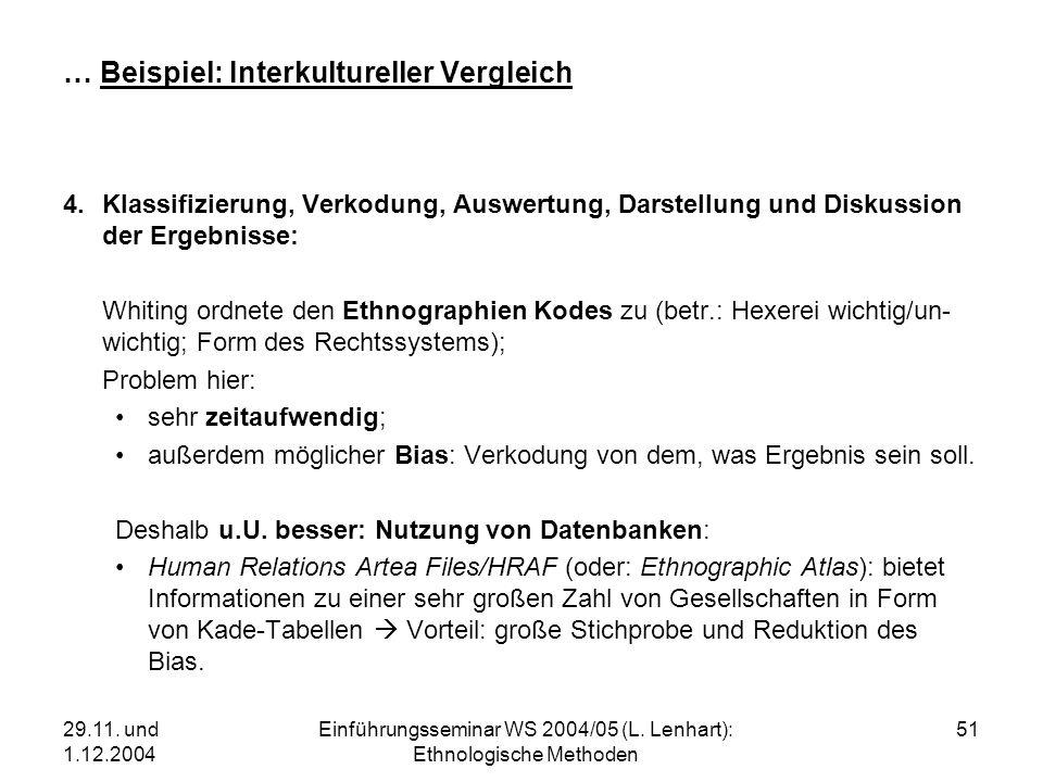 29.11. und 1.12.2004 Einführungsseminar WS 2004/05 (L. Lenhart): Ethnologische Methoden 51 … Beispiel: Interkultureller Vergleich 4.Klassifizierung, V