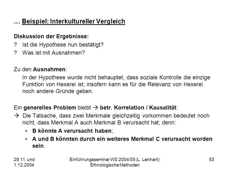 29.11. und 1.12.2004 Einführungsseminar WS 2004/05 (L. Lenhart): Ethnologische Methoden 53 … Beispiel: Interkultureller Vergleich Diskussion der Ergeb