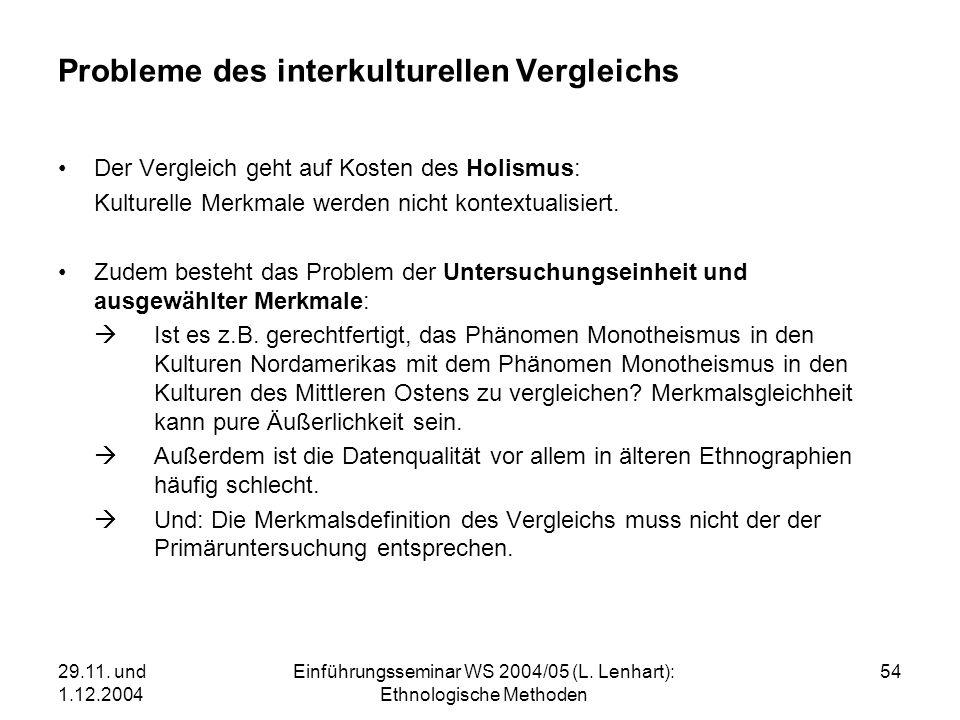 29.11. und 1.12.2004 Einführungsseminar WS 2004/05 (L. Lenhart): Ethnologische Methoden 54 Probleme des interkulturellen Vergleichs Der Vergleich geht