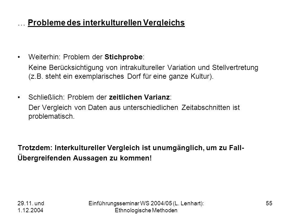 29.11. und 1.12.2004 Einführungsseminar WS 2004/05 (L. Lenhart): Ethnologische Methoden 55 … Probleme des interkulturellen Vergleichs Weiterhin: Probl
